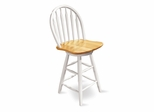 "24"" Windsor Arrowback Swivel Stool in White / Natural - 612-2"