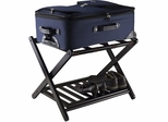 "26.54"" Reese Foldable Luggage Rack w/ Shelf - Dark Espresso"