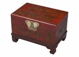 "26"" Antique Style End Table / Storage Trunk in Red Leather - frc5042"