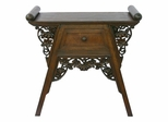 "26"" Carved Teak Wood and Rattan Console Table - frt1079"