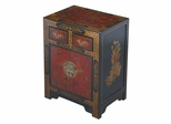 """27"""" Antique Style End Table with Nature Motifs in Black Leather - frc5072"""