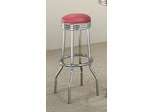29 Inch Chrome Plated Bar Stool (Set of 2) in Chrome / Red Cushion - Coaster