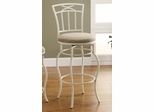 """29"""" White Metal Barstool with Upholstered Seat - 122050"""