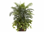 3.5' Double Areca with Vase and Pothos Silk Plant - Nearly Natural - 6633