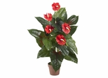 3' Anthurium Silk Plant in Red - Nearly Natural - 6619