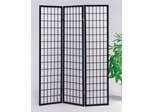 3-Panel Black Wood Screen - Naomi - 02284