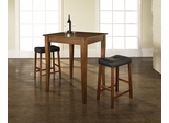 3-Piece Pub Dining Set with Cabriole Leg and Upholstered Saddle Stools in Classic Cherry Finish - Crosley Furniture - KD320004CH
