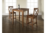 3-Piece Pub Dining Set with Cabriole Leg and X-Back Stools in Classic Cherry Finish - Crosley Furniture - KD320001CH