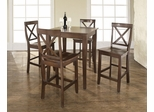 3-Piece Pub Dining Set with Cabriole Leg and X-Back Stools in Vintage Mahogany Finish - Crosley Furniture - KD520001MA