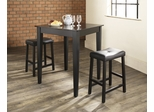 3-Piece Pub Dining Set with Tapered Leg and Upholstered Saddle Stools in Black Finish - Crosley Furniture - KD320008BK