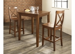 3-Piece Pub Dining Set with Tapered Leg and X-Back Stools in Classic Cherry Finish - Crosley Furniture - KD320005CH