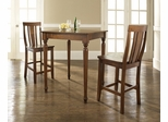 3-Piece Pub Dining Set with Turned Leg and Shield Back Stools in Classic Cherry Finish - Crosley Furniture - KD320010CH