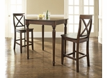 3-Piece Pub Dining Set with Turned Leg and X-Back Stools in Vintage Mahogany Finish - Crosley Furniture - KD320009MA