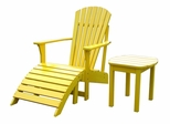 3-Piece Set - Adirondack Chair with Footrest and Side Table in Yellow - K-51903-CTS-0