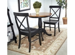 3-Piece Set - Round Table with 2 Chairs in Black / Cherry - K57-30RT-46-613