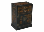 "30"" Antique Style Wine / Bar Cabinet in Black Leather - frc5065"