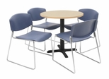 30 Inch Round Table and 4 Zeng Stack Chairs Set - TBR30BESC44