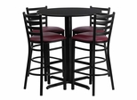 30'' Round Black Table and 4 Burgundy Vinyl Seat Ladder Back Bar Stools - HDBF1025-GG