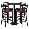 30'' Round Black Table Set with 4 Burgundy Vinyl Seat Metal Bar Stools - RSRB1025-GG