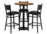 30'' Round Natural Table Set with 3 Black Vinyl Seat Metal Bar Stools - MD-0016-GG
