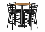 30'' Round Natural Table Set with 4 Black Vinyl Seat Metal Bar Stools - RSRB1023-GG