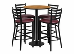 30'' Round Natural Table Set with 4 Burgundy Vinyl Seat Metal Bar Stools - RSRB1027-GG