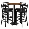 30'' Round Walnut Table Set with 4 Black Vinyl Seat Metal Bar Stools - RSRB1024-GG