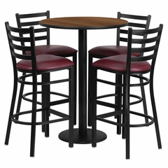 30'' Round Walnut Table Set with 4 Burgundy Vinyl Seat Metal Bar Stools - RSRB1028-GG