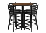 30'' Round Walnut Table Set with 4 Ladder Back Black Vinyl Seat Bar Stools - HDBF1024-GG
