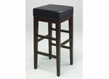 "30"" Square Barstool in Black Faux Leather / Espresso Base - Office Star - ES30VS3"