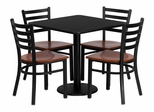 30'' Square Laminate Table Set with 4 Metal Chairs - Cherry Wood Seat - MD-0003-GG
