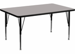 30''W x 48''L Rectangular Activity Table, 1.25'' Thick High Pressure Grey Laminate Top & Height Adjustable Pre-School Legs - XU-A3048-REC-GY-H-P-GG