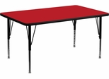 30''W x 48''L Rectangular Activity Table, 1.25'' Thick High Pressure Red Laminate Top & Height Adjustable Pre-School Legs - XU-A3048-REC-RED-H-P-GG