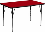 30''W x 48''L Rectangular Activity Table, Red Thermal Fused Laminate Top & Standard Height Adjustable Legs - XU-A3048-REC-RED-T-A-GG