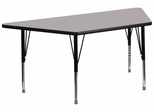 30''W x 60''L  Gray High Pressure Top Trapezoid Activity Table with Adjustable Pre-School Legs - XU-A3060-TRAP-GY-H-P-GG