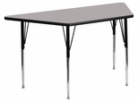 30''W x 60''L  Gray High Pressure Top Trapezoid Activity Table with Standard Height Adjustable Legs - XU-A3060-TRAP-GY-H-A-GG