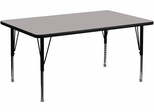 30''W x 60''L Rectangular Activity Table, 1.25'' Thick High Pressure Grey Laminate Top & Height Adjustable Pre-School Legs - XU-A3060-REC-GY-H-P-GG
