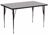 30''W x 60''L Rectangular Activity Table, 1.25'' Thick High Pressure Grey Laminate Top & Standard Height Adjustable Legs - XU-A3060-REC-GY-H-A-GG