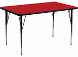 30''W x 60''L Rectangular Activity Table, 1.25'' Thick High Pressure Red Laminate Top & Standard Height Adjustable Legs - XU-A3060-REC-RED-H-A-GG