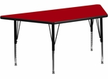 30''W x 60''L  Red Trapezoid Activity Table with Height Adjustable Pre-School Legs - XU-A3060-TRAP-RED-T-P-GG