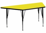 30''W x 60''L  Yellow High Pressure Top Trapezoid Activity Table with Height Adjustable Pre-School Legs - XU-A3060-TRAP-YEL-H-P-GG