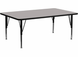 30''W x 72''L Rectangular Activity Table, 1.25'' Thick High Pressure Grey Laminate Top & Height Adjustable Pre-School Legs - XU-A3072-REC-GY-H-P-GG