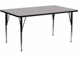 30''W x 72''L Rectangular Activity Table, 1.25'' Thick High Pressure Grey Laminate Top & Standard Height Adjustable Legs - XU-A3072-REC-GY-H-A-GG