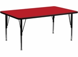 30''W x 72''L Rectangular Activity Table, 1.25'' Thick High Pressure Red Laminate Top & Height Adjustable Pre-School Legs - XU-A3072-REC-RED-H-P-GG