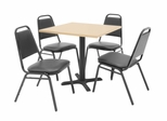"30""x30"" Table and 4 Restaurant Stackers Set - TBS30BESC29BK"