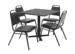 "30""x30"" Table and 4 Restaurant Stackers Set - TBS30GYSC29BK"