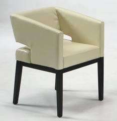 #312 Arm Chair in Cream Leather / Espresso - Armen Living - LC312ARCR