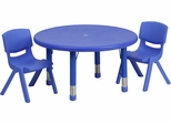 33'' Round Adjustable Blue Plastic Activity Table Set - YU-YCX-0073-2-ROUND-TBL-BLUE-R-GG
