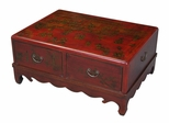 "35"" Antique Style Mandarin Coffee Table in Red Leather - frc5036"