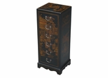 """36"""" Antique Style Storage / Hall Table in Black Leather - frc5049"""